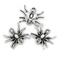 10 x Antique Silver Spider Charm Pendants